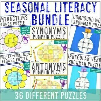 Seasonal Literacy Centers BUNDLE: Includes Fall Activities & ELA Centers