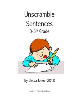 Upper Elementary Sentence Unscramble