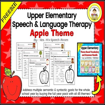 Upper Elementary Themed Vocabulary and Grammar Worksheets-Apple Theme