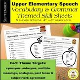 September Speech Therapy Upper Elementary Themed Vocab & Grammar Worksheets