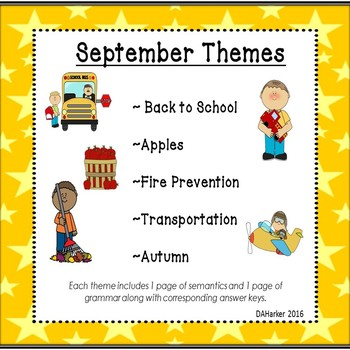 September Speech Therapy Upper Elementary Themed Vocab & Grammar Worksheets
