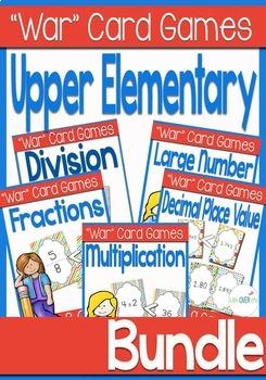 "Fractions, Decimals, Multiplication, Division, Place Value ""War"" Game BUNDLE"