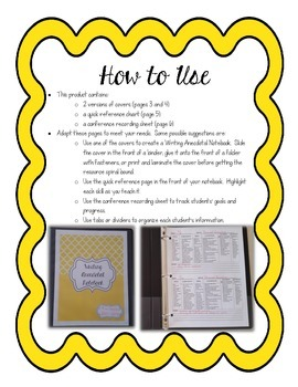 Upper Elementary Writing Anecdotal Notebook
