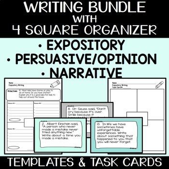 Expository, Narrative, and Opinion Writing Bundle with 90 Prompts and Organizers