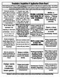 Upper Elementary and Intermediate Vocabulary Acquisition Choice Board and Rubric