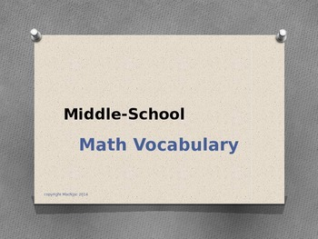 Upper Elementary and Middle School Math Vocab