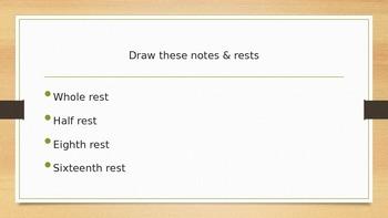 Upper Elementary note/ rest assessment (set for 5th grade)