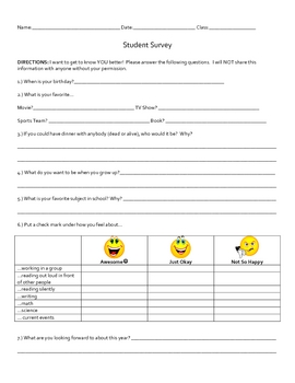 Upper Elementary or Middle School Student Survey