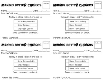 Upper Grade Choice Slip