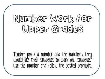 Upper Grade Number Work