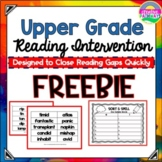Reading Intervention for Upper Grades Freebie- A Phonics Intervention