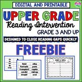 Reading Intervention for Upper Grades Freebie- A Phonics I