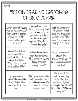Upper Grades Reading Response Choice Board