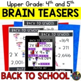 Upper Grades Back to School Brain Teasers
