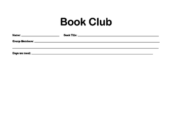 Upper Grades Book Club Accountability Packet