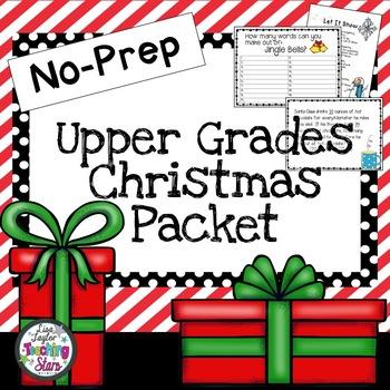 No Prep Christmas Packet: for Upper Grades