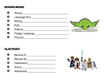 Upper Grades Daily Responsibility Chart - Star Wars & Imag