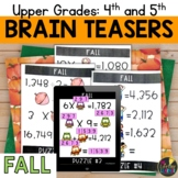 Upper Grades Fall Brain Teasers
