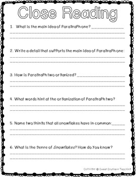 Upper Grades Literacy Packet - No Prep and Winter Themed!