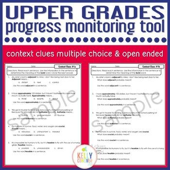 Upper Grades Progress Monitoring Tool for SLPs - Context Clues