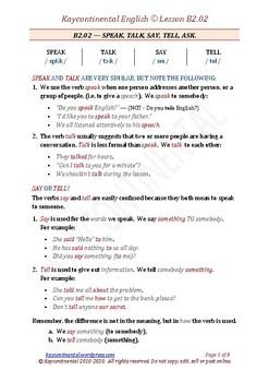 B2.02 - Speak, Talk, Say, Tell, Ask