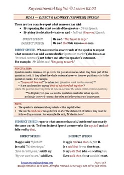 B2.03 - Direct & Indirect (Reported) Speech