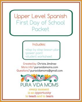 Upper Level / Native Speaker Spanish First Day Of School Plan