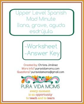Upper Level / Native Speaker Spanish Word Type Fluency Mad Minute Llana, etc