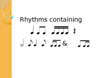 Rhythm patterns ta, ti-ti, tikatika, rest, too, syn-CO-pa, tikati + 4 & 8 beats