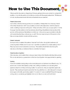 Upper Level Spanish Subjunctive & Indicative Speaking & Writing Activity