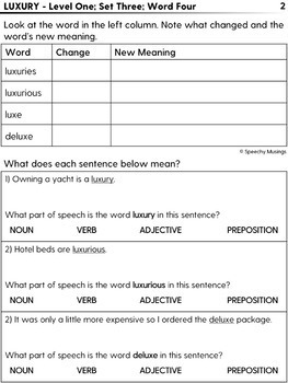 Level Vocabulary: Guided Worksheets + Assessment for Speech Therapy