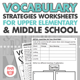 Upper Level Vocabulary Strategies: Worksheets + Assessment for Speech Therapy
