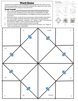 Upper Level Word Choice and Vocabulary Cootie Catcher