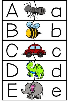Upper Lower Case Alphabet Letter Match Puzzle - Self Correcting - 3 fonts!