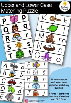 Upper Lower Case Letter Match Puzzle - VIC, QLD and fun print font