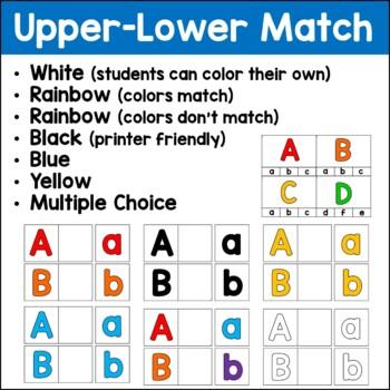 Upper-Lower Case Alphabet Match Task Cards