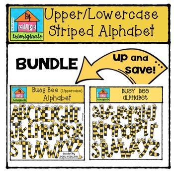 Upper / Lower Case Bee Alphabet BUNDLE{P4 Clips Trioriginals Digital Clipart}