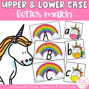Upper & Lower Case Letter Match - Rainbow Unicorns