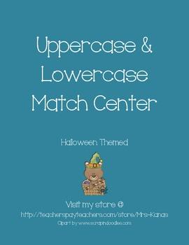 Upper & Lower Case Match Literacy Center - Halloween Themed