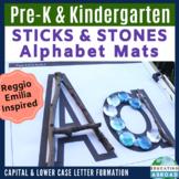 Upper & Lower Letters: Recognition & Formation {STICKS & STONES} Alphabet Mats