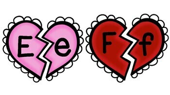 Upper-Lower case matching-Valentine's activity for centers. Heart&alphabet