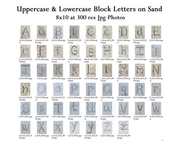 Upper / Lowercase Block Letters On Sand - Alphabet Letters M - Z (file 2 of 2)