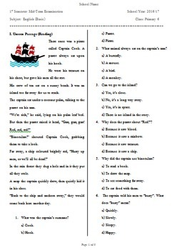 "Upper Primary School Sixth Grade Elementary ESL English Language Exam ""Pirates"""