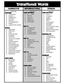 Transitional Phrases - Upper Grade