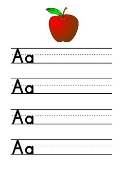 Upper and Lower Case Handwriting Worksheets with Phonics Pictures