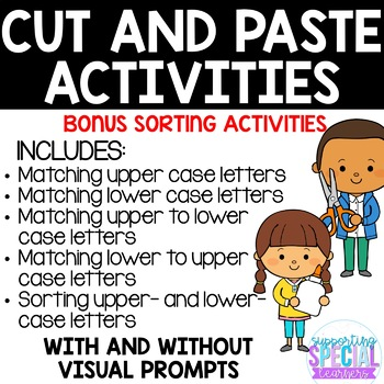 Upper and Lower Case Letters - Cut and Paste Activities with Bonus Sorting!