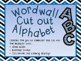 Upper and Lower Case Wordwall cut out letters-Blue Black and White