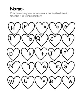 Upper and Lower-case Letter Hearts