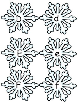 Upper and Lowercase Letter Cards on Snowflakes