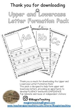 Upper and Lowercase  Letter Formation Pack